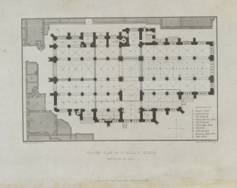 Digital copy of page 2:  Ground Plan of St Giles's Church. Previous to 1829. Engraving published by Hugh Paton, Adam Square, Edinburgh. 'MEMORABILIA, JOn. SIME  EDINr.  1840'