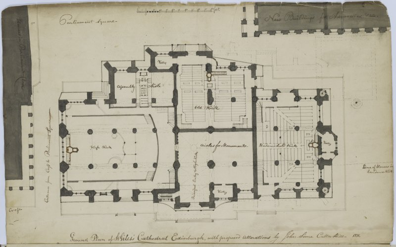 Digital copy of page 3: Ground Plan of St Giles's Cathedral, Edinburgh with proposed alterations by John Sime, Calton Hill 1811. 'MEMORABILIA, JOn. SIME  EDINr.  1840'