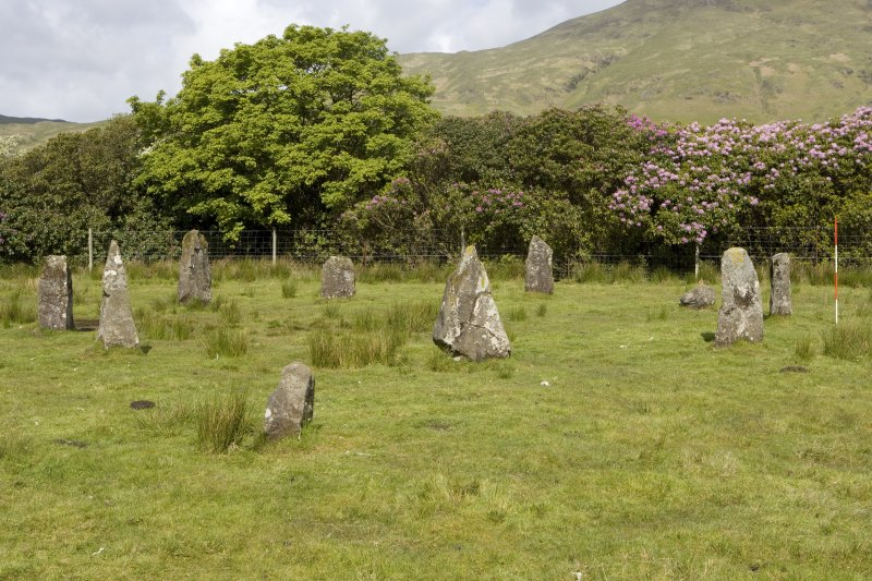 Stone circle, view from SE (with range pole)