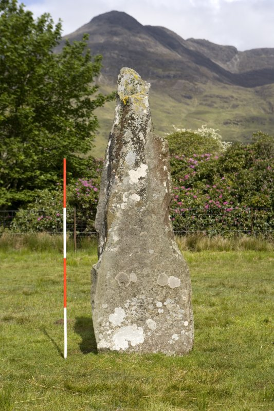 Standing stone, view from SE (with range pole)