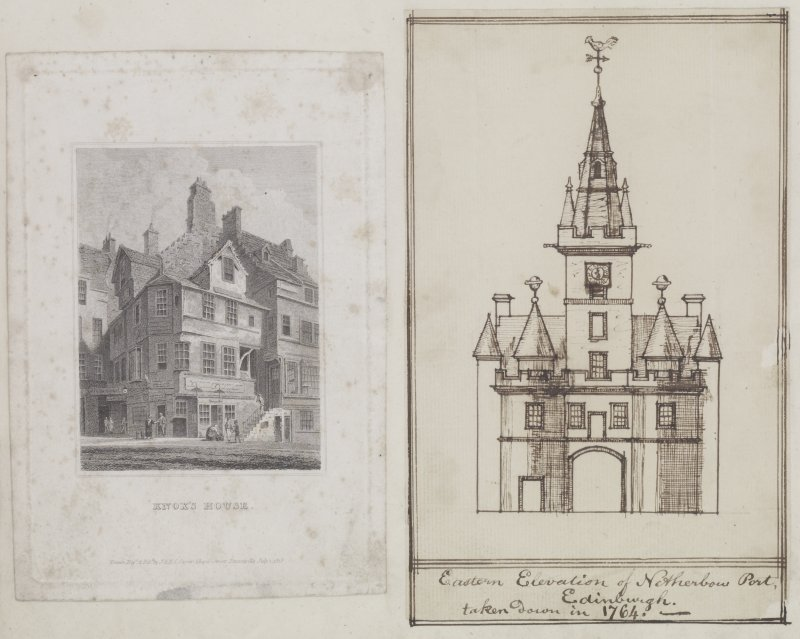Digital copy of page 6 verso:  Engraving of John Knox's House, High Street and ink sketch of East Elevation of Netherbow Port. 'MEMORABILIA, JOn. SIME  EDINr.  1840'