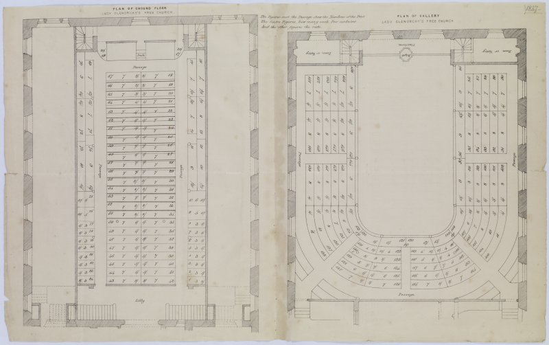 Digital copy of page 7a: Plan of Ground Floor and Plan of Gallery of Lady Glenorchy's Free Church 'MEMORABILIA, JOn. SIME  EDINr.  1840'