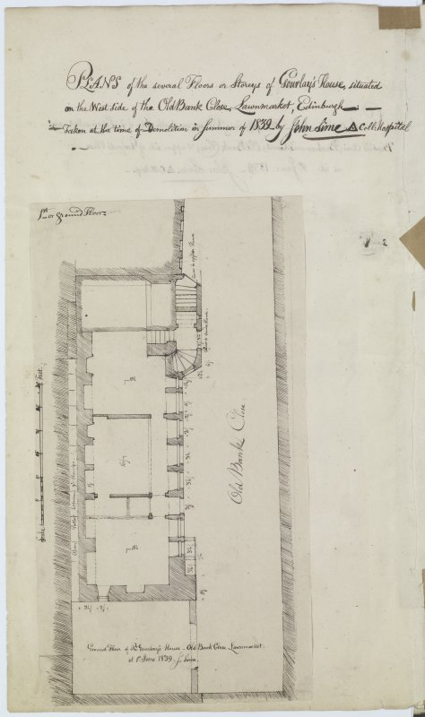 Digital copy of page 12a: Ink sketch plan of Old Bank Close, Buchanan's Court, Brodie's Close and Fisher's Close in Lawnmarket, with letter written on back. 'MEMORABILIA, JOn. SIME  EDINr.  1840'