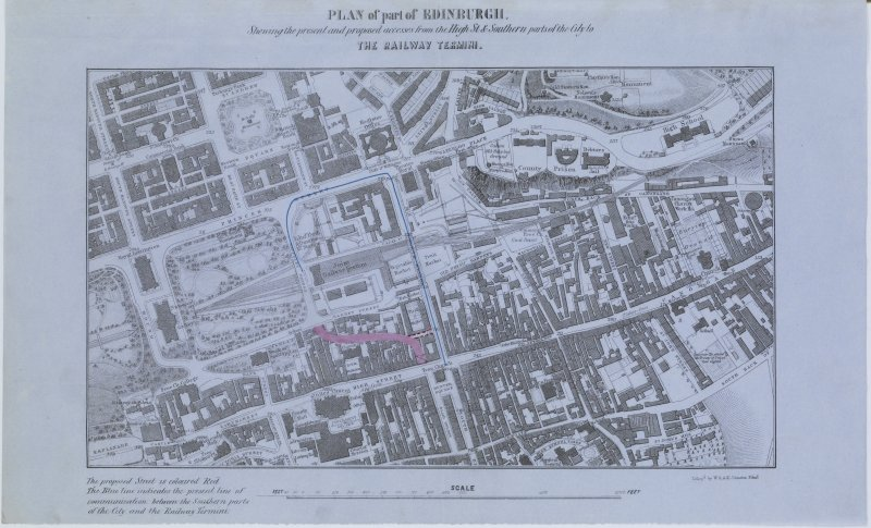"Digital copy of page 15: Extract from ""Prospectus of the Edinburgh High Street, and Railway Station Access, and Sanitary Improvement Company"" comprising lithographed ""Plan of part of Edinburgh showing the present and proposed accesses from the High St & Southern parts of the City to the railway termini. Lithog.d by W & A K Johnston, Edinr."" and showing proposed site for Cockburn Street. (Page 3) 'MEMORABILIA, JOn. SIME  EDINr.  1840'"