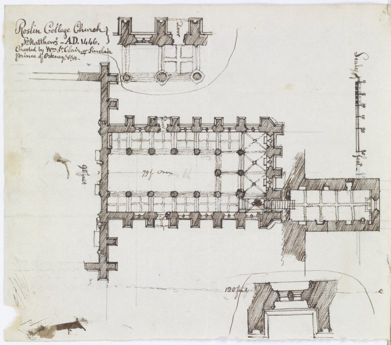 Digital copy of page 24a verso: Ink sketch plan of Roslin College Church, with letter written on back. Insc.: 'Roslin College Church, St Matthew's -AD 1446. Erected by Wm.St.Clair or Sinclair, Prince of Orkney' 'MEMORABILIA, JOn. SIME  EDINr.  1840'