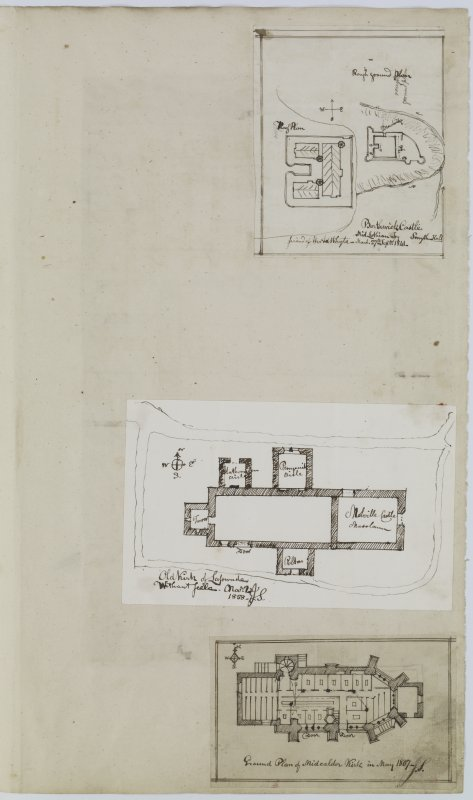Digital copy of page 25: Ink sketch plans of Borthwick Castle, Lasswade Church and Midcalder Church. 'MEMORABILIA, JOn. SIME  EDINr.  1840'
