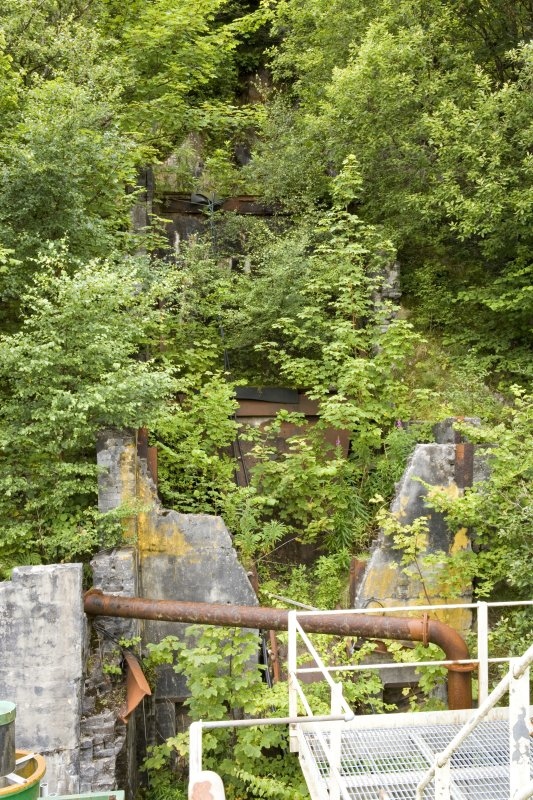 View from Eagle Screw plant of abandoned Adit No.5 and earlier crushing plant remains from E.