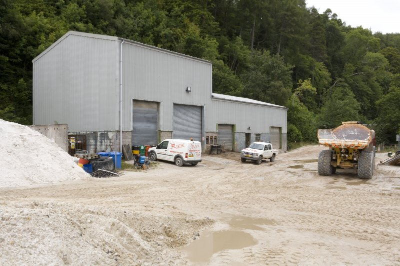 View of workshops and 30 ton dumper truck.