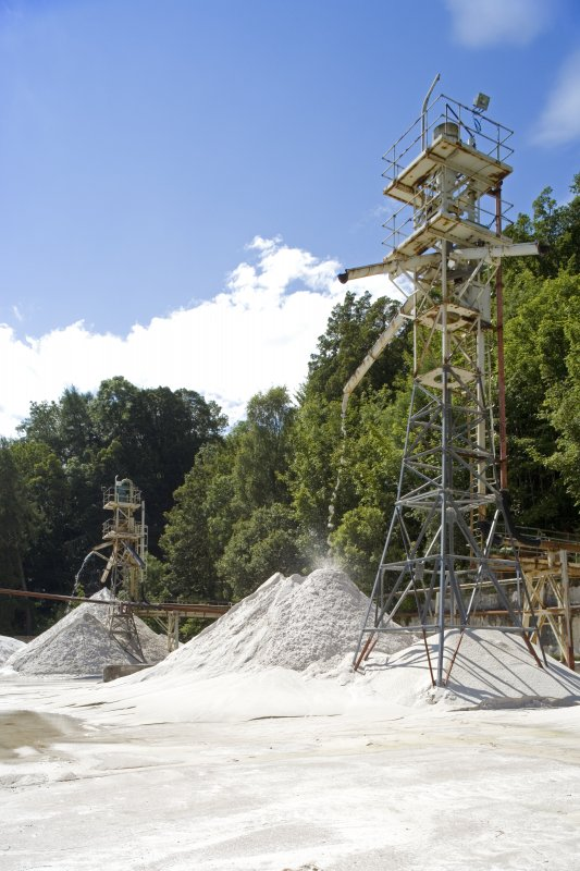 View of Tower Nos. 1 and 2 and processed sand stocks awaiting shipment.