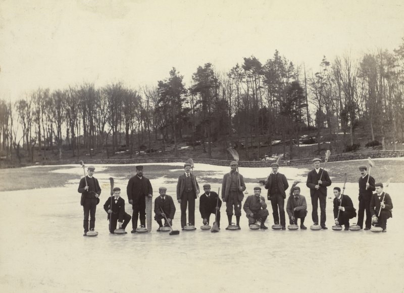 View of St Fort Curling Club on the ice.