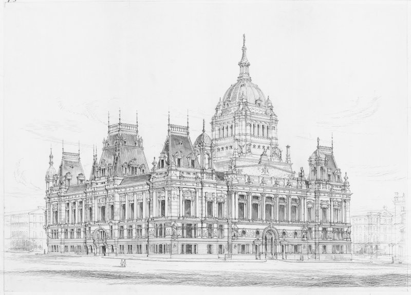 Digital copy of view of City Chambers in Glasgow.