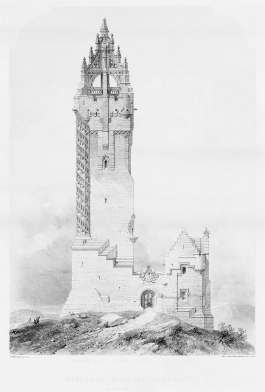 Lithograph of Wallace Monument.
