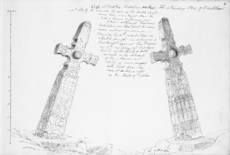 Digital copy of annotated drawing of both faces of cross from album, page 6.