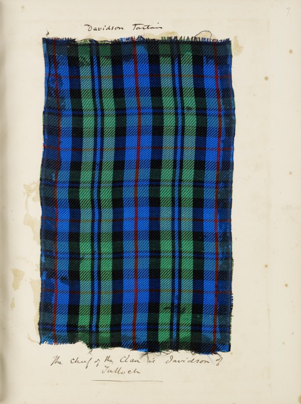 Davidson Tartan  inscribed ''The Chief of the Clan is Davidson of Tulloch''.