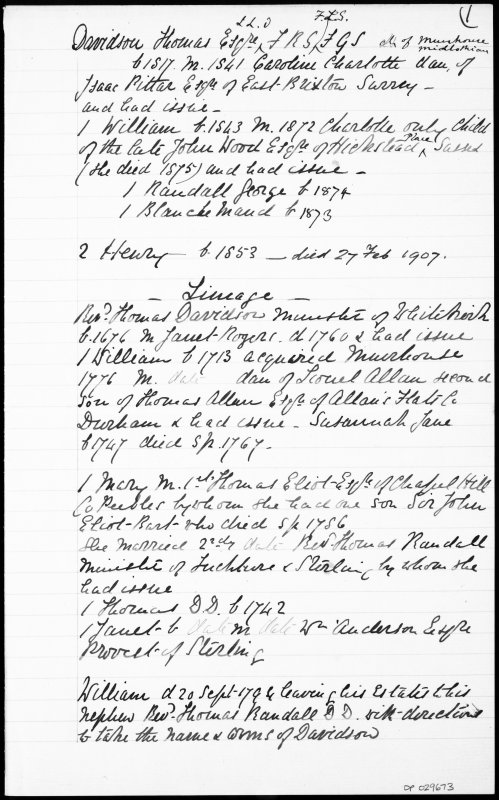 Written account of Davidson Lineage.