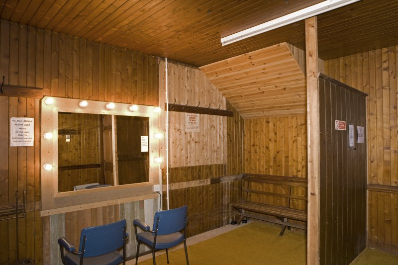 Interior. Under stage area, view of timber lined dressing room