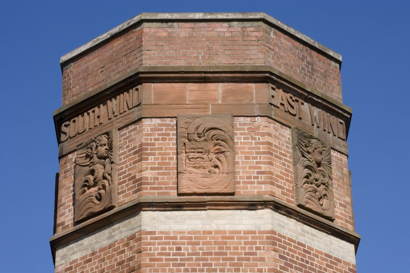 Detail of chimney, 'Four Winds' hydraulic power station, Prince's Dock, Glasgow.