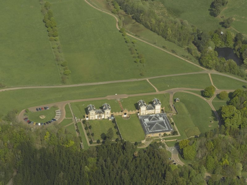 Oblique aerial view centred on Chatelherault, taken from the SW.