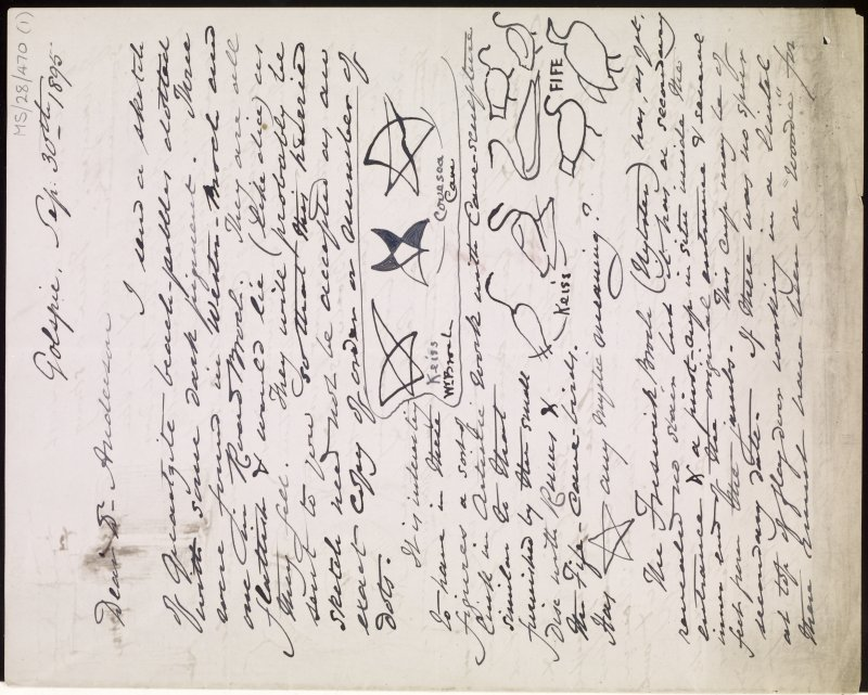 Digital copy of letter (pages 1 and 4) to Dr J Anderson from J M Joass, 30 September 1895. Contents include sketches of carved pentacles at Keiss West Broch and Covesea Cave, and carved birds at Keiss and East Wemyss.