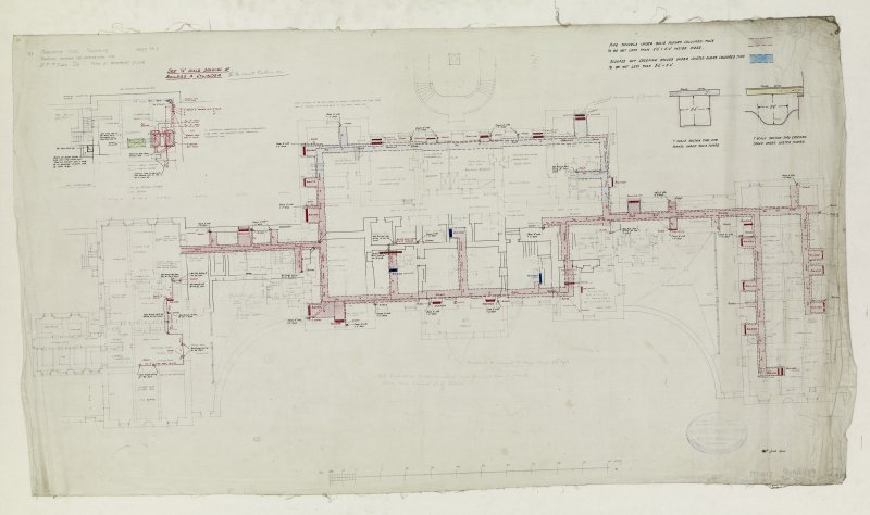 Additions and alterations for R F McEwen. Plan of basement floor for radiators.