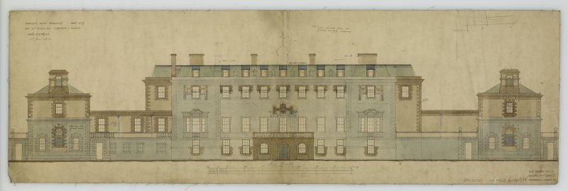 North elevation of Marchmont House showing additions and alterations for R F McEwen.