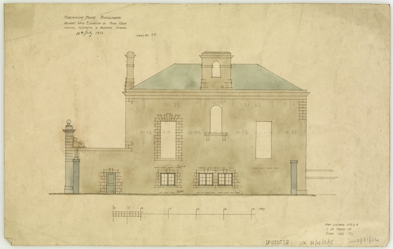 Additions and alterations for R F McEwen. Revised west elevation of music room