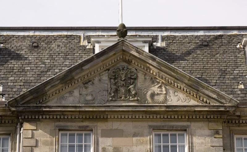Detail of East Front pediment showing Coat of Arms of William 2nd earl of Annandale, dated 1699.