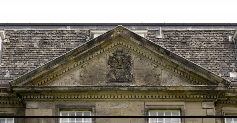 Detail.  Showing East Front pediment with Coat of Arms of William 2nd Earl of Annandale and Sophia Countess of Annandale.