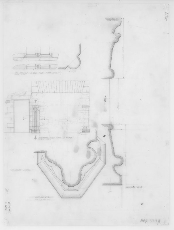 Digital copy of elevations, profile mouldings. Insc: 'Lachlan Castle'.