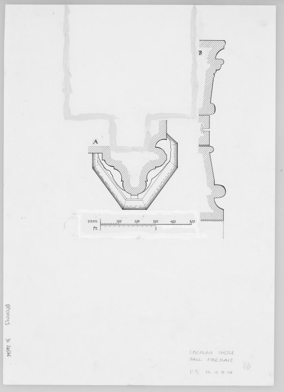 Digital copy of profile mouldings of fireplace. Publication copy of DC/24794.