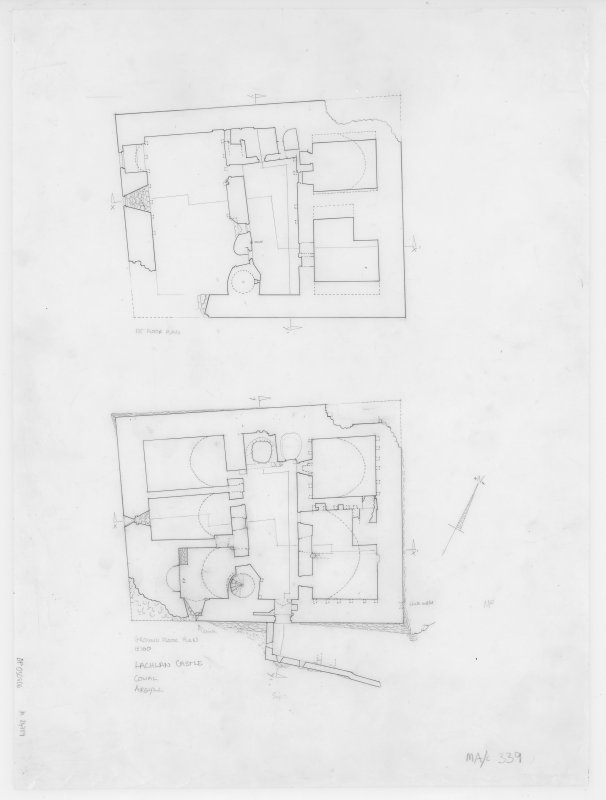 Digital copy of ground and first floor plan. Insc: 'Lachlan Castle ' Cowal' 'Argyll'.