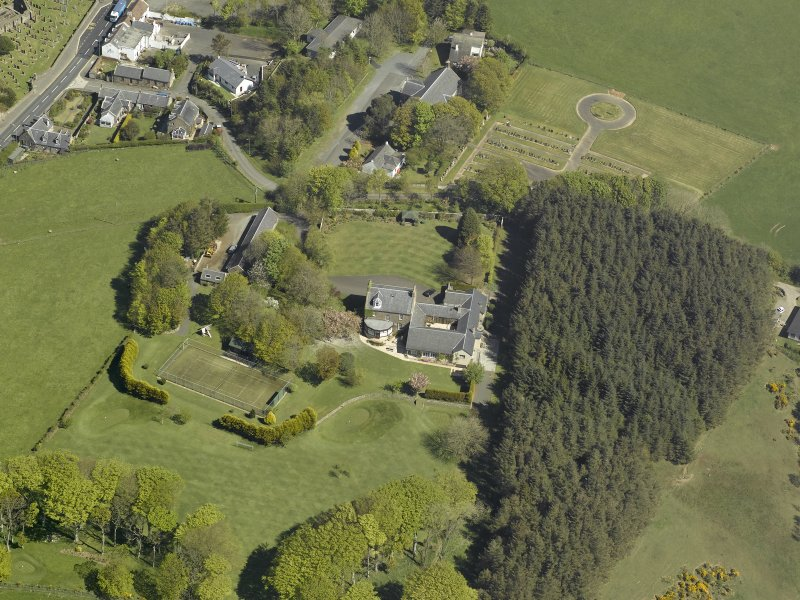 Oblique aerial view centred on Glebe house, taken from the SW.