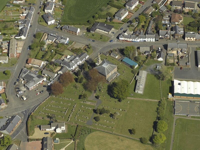 General oblique aerial view centred on Tarbolton Old Parish Church, taken from the E.
