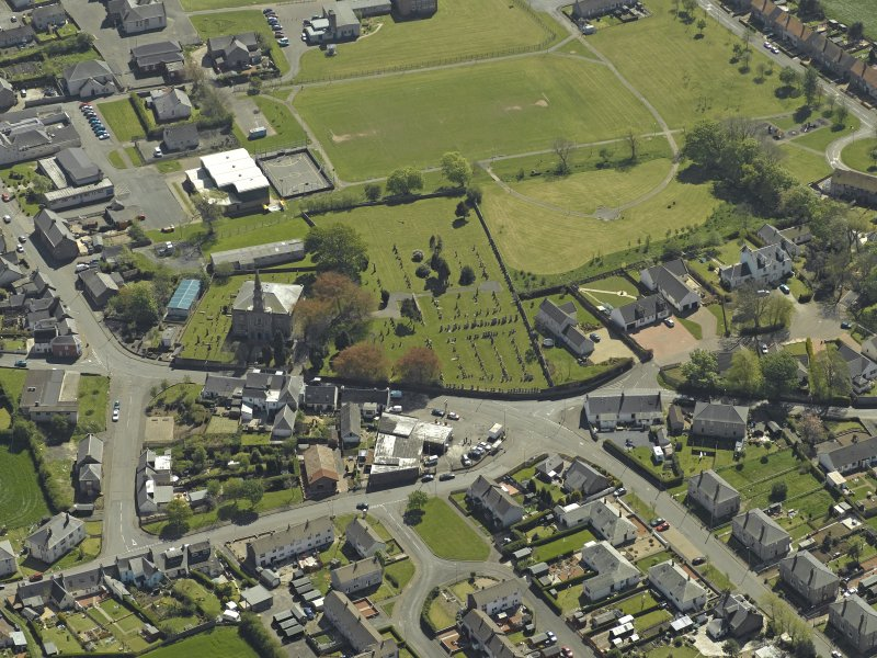 General oblique aerial view centred on Tarbolton Old Parish Church, taken from the N.