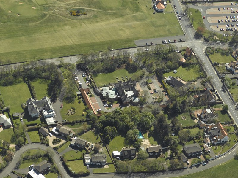 Oblique aerial view centred on Craigend House Hotel, taken from the NNW.