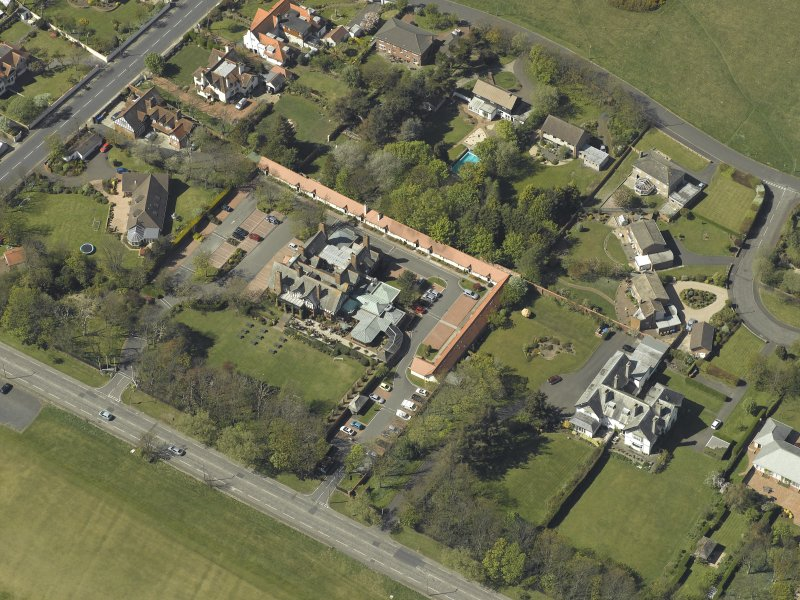 Oblique aerial  view centred on Craigend House Hotel, taken from the SE.
