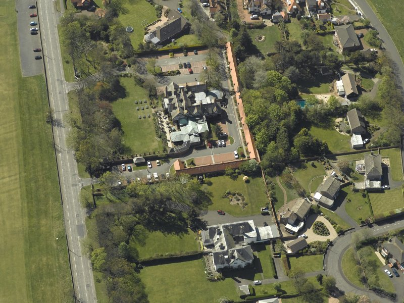 Oblique aerial  view centred on Craigend House Hotel, taken from the NE.
