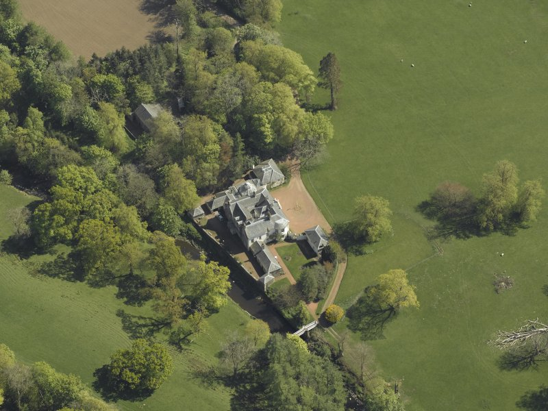 Oblique aerial view centred on Annick Lodge, taken from the NW.