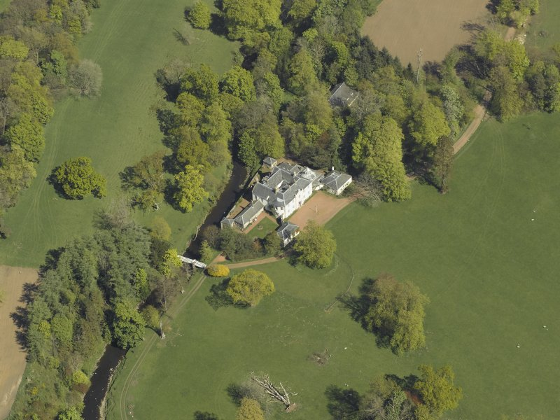Oblique aerial view centred on Annick Lodge, taken from the W.