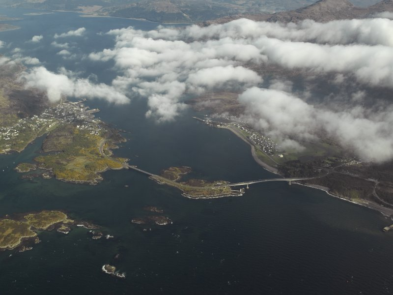 General oblique aerial view looking towards Loch Alsh centred on the road bridge, taken from the W.