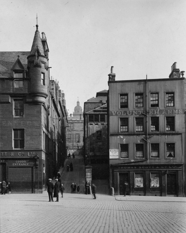 Photograph of Heriot Bridge and Nos 45 and 61 either side with accompanying text, inscr; 'Grassmarket - south side, Heriot Bridge.'