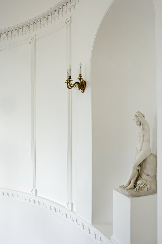 Interior. First floor, main stairwell, detail of plasterwork and niche with bust