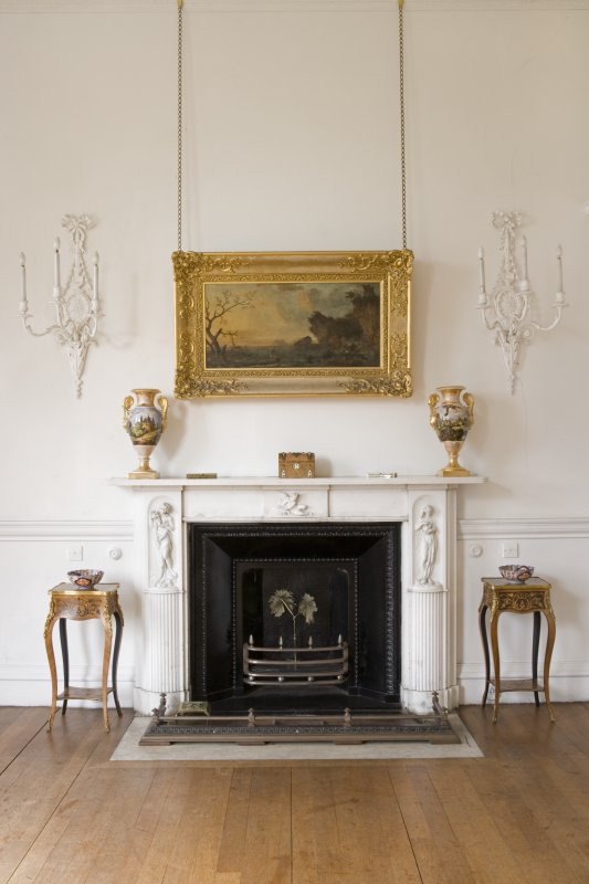 Interior. First floor, drawing room, detail of fireplace