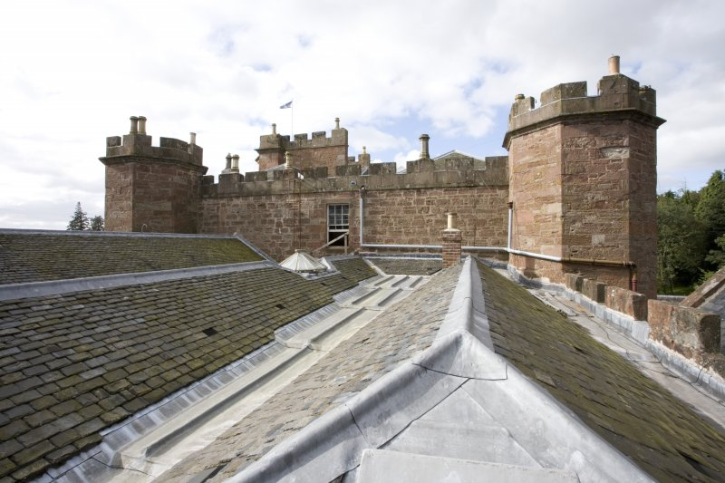 View from east hall window over roofscape of E wing