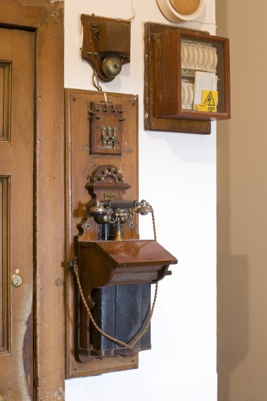 Detail of telephone in the ground floor hall of Fasque House, Aberdeenshire.