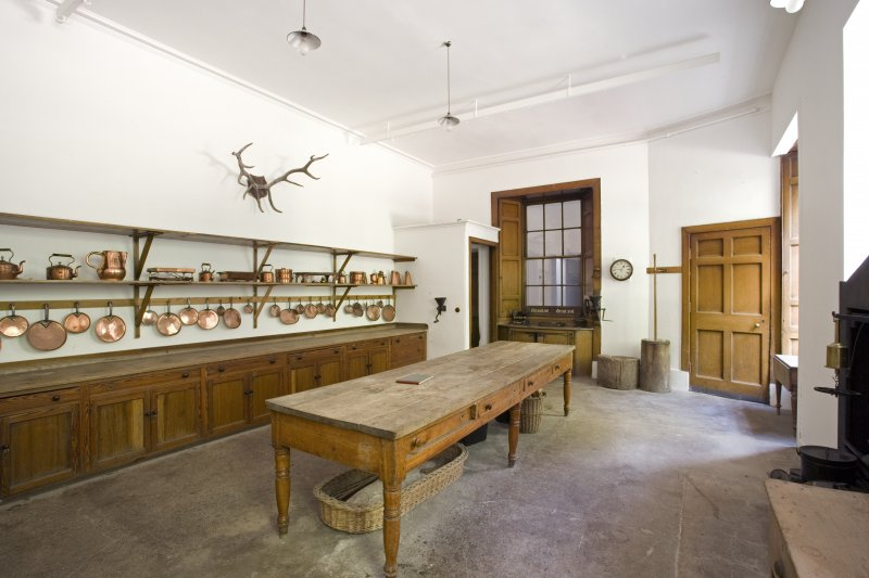 View of old kitchen in ground floor of Fasque House, Aberdeenshire.
