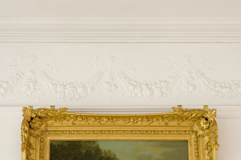 Interior. Ground floor, dining room, detail of frieze and cornice