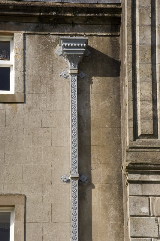 Detail of rain-water head and downpipe on north east front.