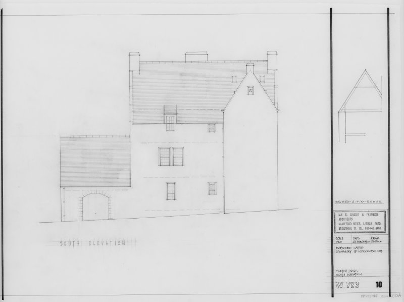 Sketch Plan. South Elevation.