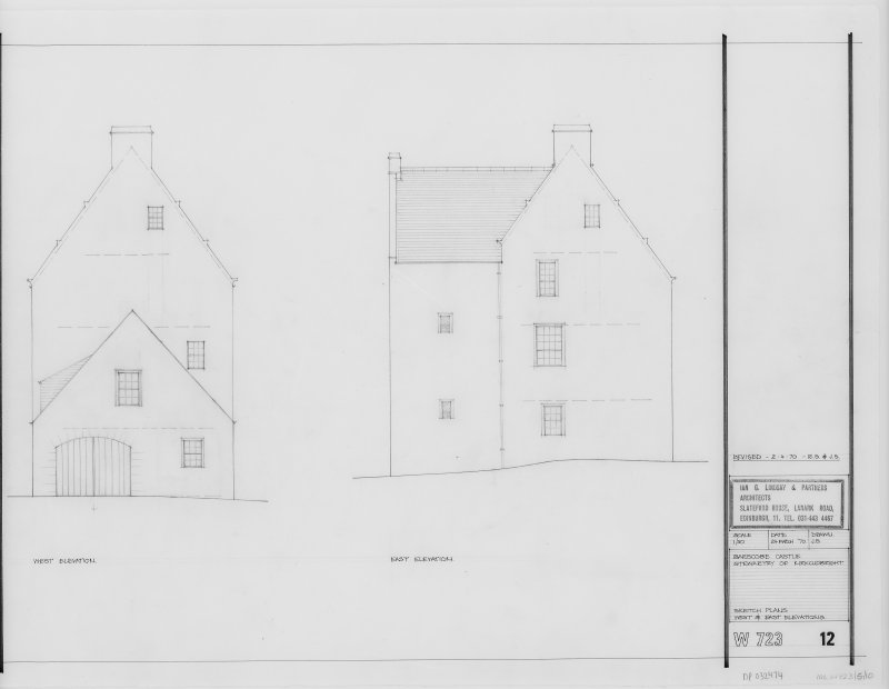 Sketch Plan. West and East Elevations.